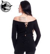 Innocent Clothing Gothic Black Hena Jumper / Top | Ladies Gothic Clothing